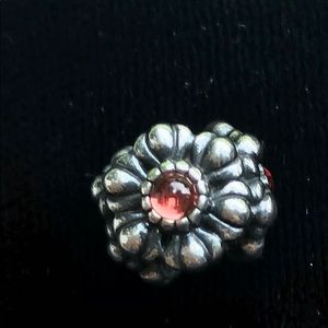 Pandora flower stone with beautiful red stone